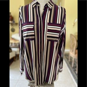 Chico's Stylish Long Soft Blouse Colorful Stripes